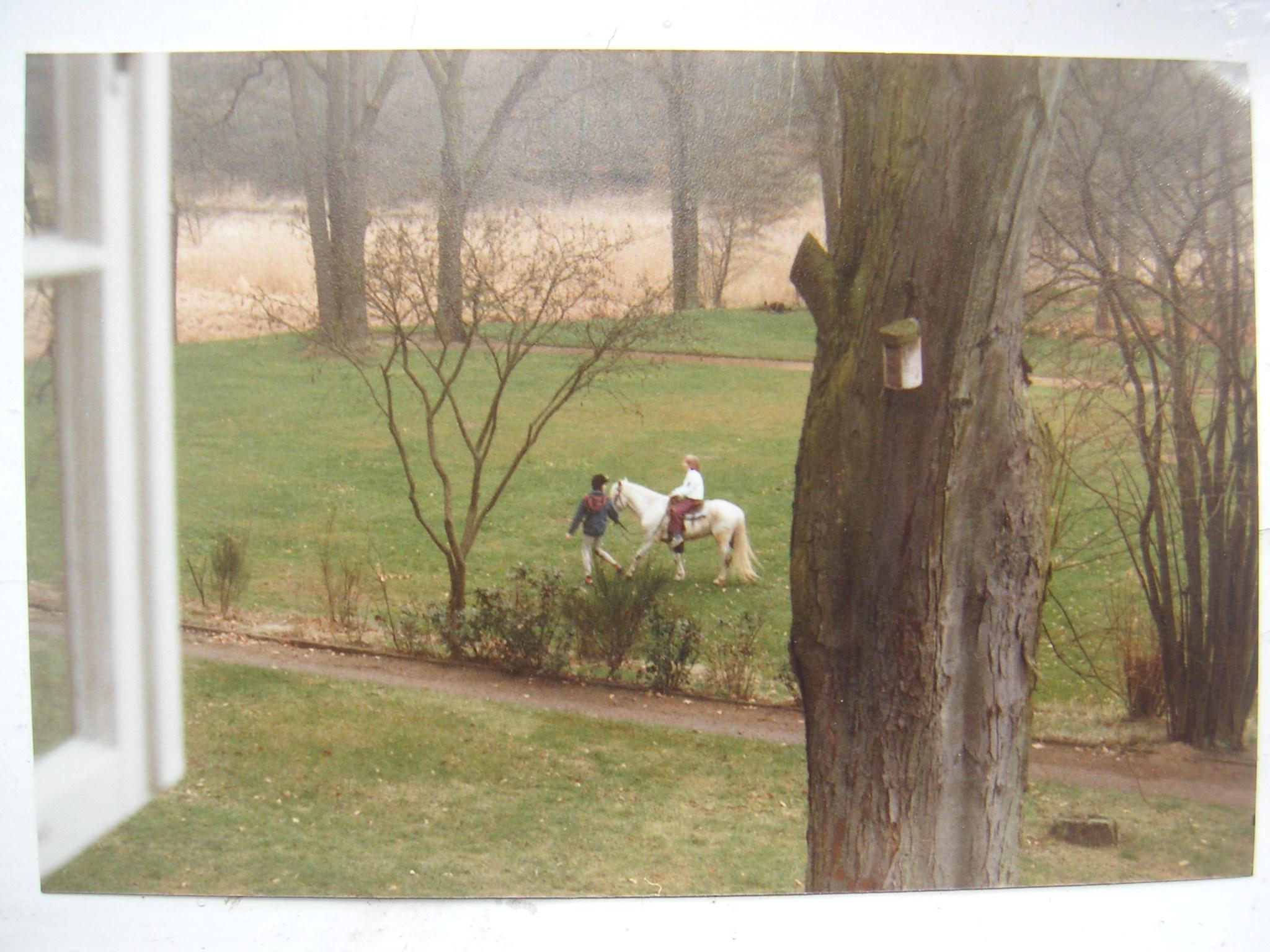 Mit der Nachbarstochter im Garten - man beachte, wer den Helm trägt!